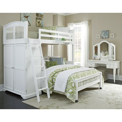 Javin Twin Locker Loft with Full Lower Bed Color: White