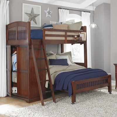 Javin Twin Locker Loft with Full Lower Bed Color: Chestnut