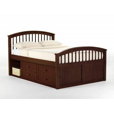 Javin Captain Bed HB/FB/Slats Size: Full, Finish: Cherry
