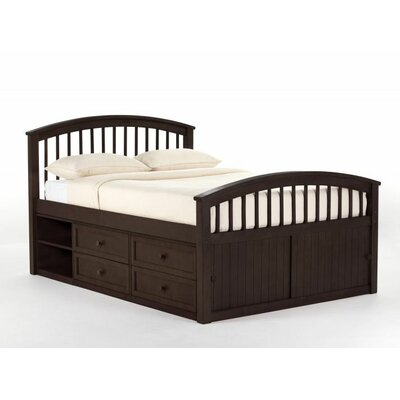 Javin Captain Bed HB/FB/Slats Size: Full, Finish: Chocolate