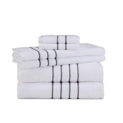 Polizzi 6 Piece Towel Set Color: White/Gray