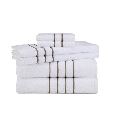 Polizzi 6 Piece Towel Set Color: White/Taupe