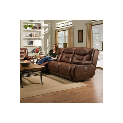 Crescent Leather Reclining Sofa Type: Power Headrest Sofa