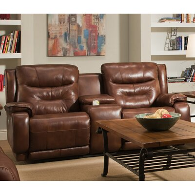 Crescent Leather Reclining Loveseat Type: Power Headrest Console Sofa