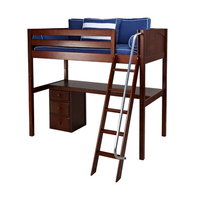 Knockout2 Loft Bed with Storage Color: White
