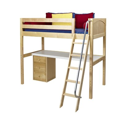 Knockout2 Loft Bed with Storage Finish: Natural
