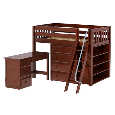 Katching3 Low Loft Bed with Storage Finish: Chestnut