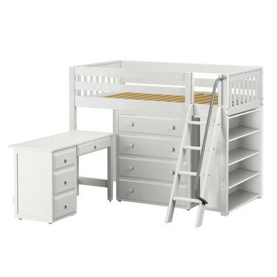 Katching3 Low Loft Bed with Storage Finish: White