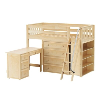 Katching3 Low Loft Bed with Storage Finish: Natural
