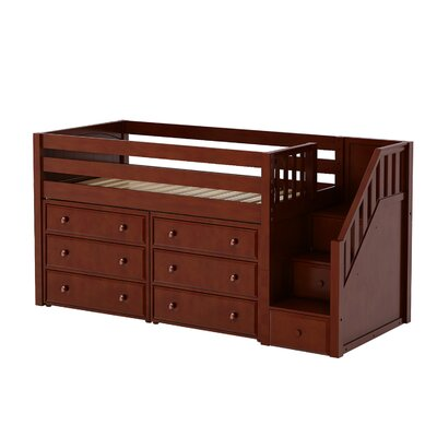Great3 Low Loft Bed with Storage Color: Chestnut