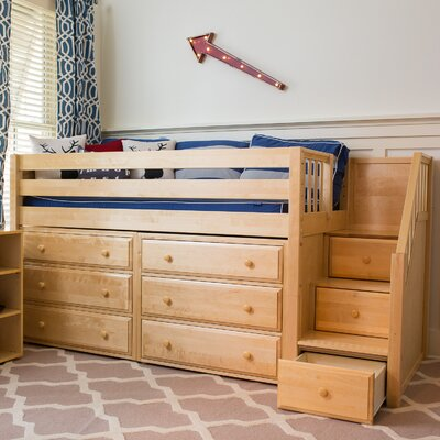 Great3 Low Loft Bed with Storage Finish: Natural