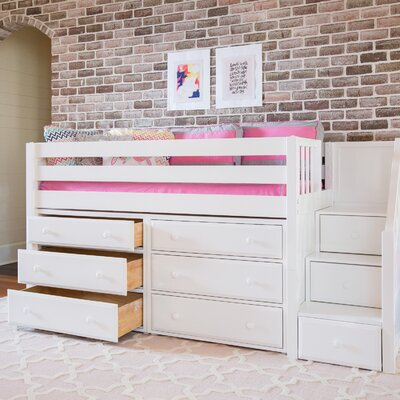 Great3 Low Loft Bed with Storage Color: White