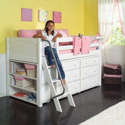 Kicks2 Low Loft Bed with Storage Color: White