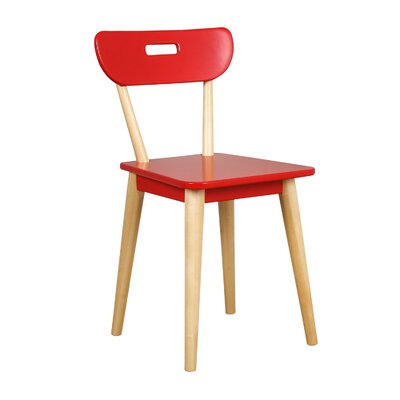 Mid Century Dining Chair Color: Natural/Red