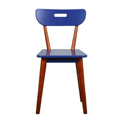 Mid Century Dining Chair Color: Chestnut/Blue