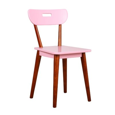 Mid Century Dining Chair Color: Chestnut/Pink