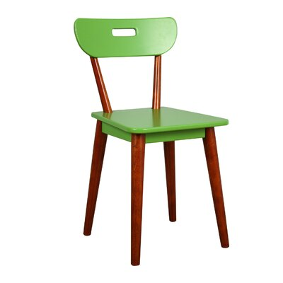Mid Century Dining Chair Color: Chestnut/Green
