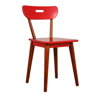 Mid Century Dining Chair Color: Chestnut/Red