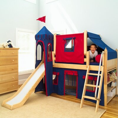 Wow Twin Low Loft Bunk Bed Bed Frame Color: Natural, Color: Blue/Red