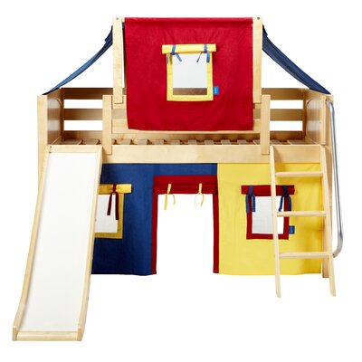 Wow Twin Low Loft Bunk Bed Bed Frame Color: Natural, Color: Blue/Yellow/Red