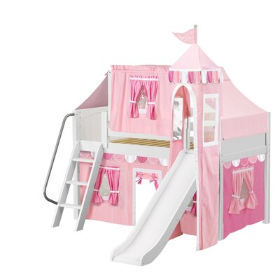 Wow Loft Bed with Slide Tent and Curtains Bed Frame Color: White, Color: Pink