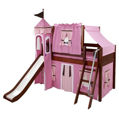 Wow Twin Low Loft Bunk Bed Bed Frame Color: Chestnut, Color: Pink