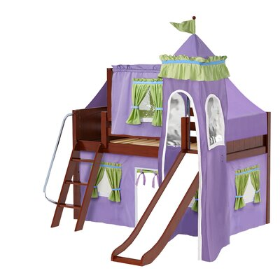 Wow Twin Low Loft Bunk Bed Bed Frame Color: Chestnut, Color: Purple/Green