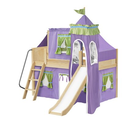 Wow Twin Low Loft Bunk Bed Bed Frame Color: Natural, Color: Purple/Green
