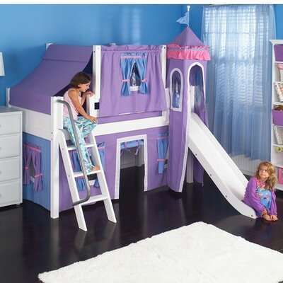 Wow Twin Low Loft Bunk Bed Bed Frame Color: Natural, Color: Purple