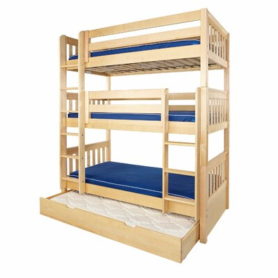 Holy Twin over Twin Triple Bed with Trundle Bed Frame Color: Natural