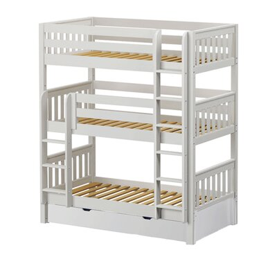 Holy Twin over Twin Triple Bed with Trundle Bed Frame Color: White