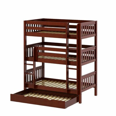 Holy Twin over Twin Triple Bed with Trundle Bed Frame Color: Chestnut