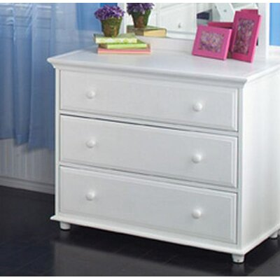 3 Drawer Dresser Color: White