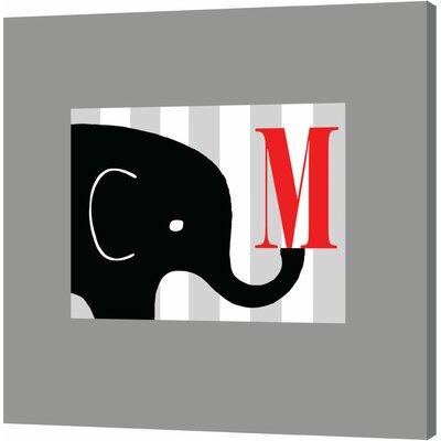 Customize with Initial Black Elephant by Ashley Calhoun Original Painting on Canvas