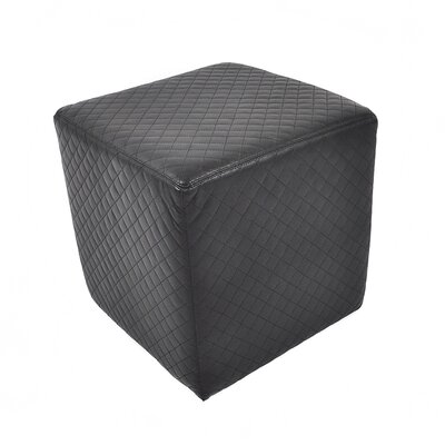 Quilted Leather Cube Ottoman Upholstery: Black