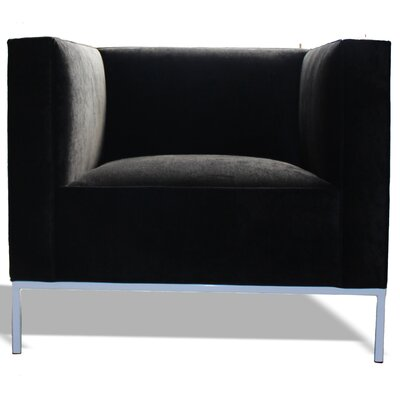 Lacy Barrel Chair Body Fabric: Klein Azure, Leg Finish: Black Base
