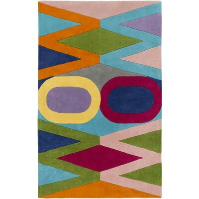 Mod Pop Hand-Tufted Teal/Burnt Orange Area Rug Rug Size: Rectangle 5 x 76