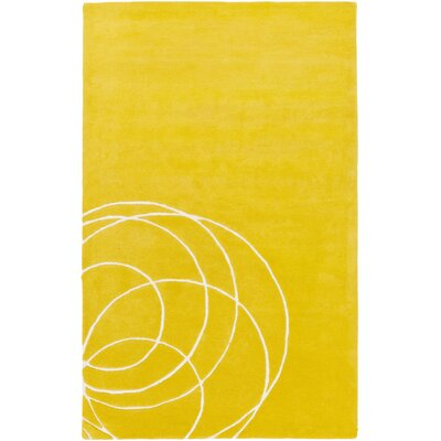 Solid Bold Gold Area Rug Rug Size: Rectangle 5 x 76
