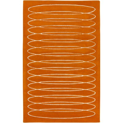 Hand-Tufted Wool Orange Area Rug Rug Size: Rectangle 2' x 3'