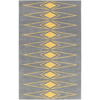 Hand-Tufted Gray/Yellow Area Rug Rug Size: Rectangle 5 x 76