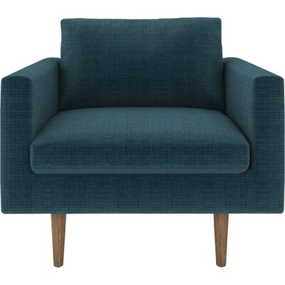 Brady Armchair Body Fabric: Cassandra Turquoise, Leg Color: Oak