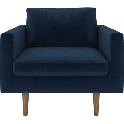 Brady Armchair Body Fabric: Luxor Navy, Leg Color: Oak