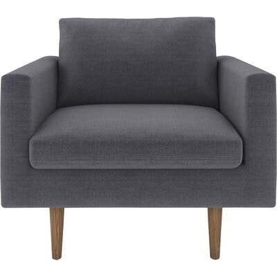 Brady Armchair Body Fabric: Klein Azure, Leg Color: Oak