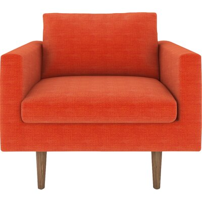 Brady Armchair Body Fabric: Cassandra Orange, Leg Color: Walnut