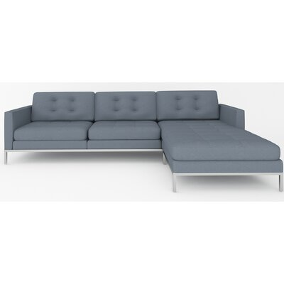Jack Reversible Sectional Body Fabric: Bella Pewter, Leg Color: Brushed Steel