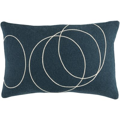 Bold Wool Lumbar Pillow Color: Dark Blue/cream