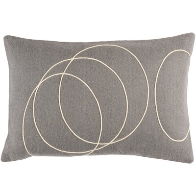 Bold Wool Lumbar Pillow Color: Medium Gray/cream