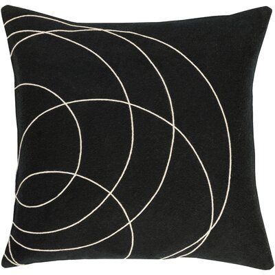 Bold Wool Throw Pillow Size: 22 H x 22 W x 5 D, Color: Black/Cream