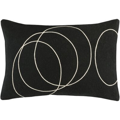 Bold Wool Lumbar Pillow Color: Black/Cream