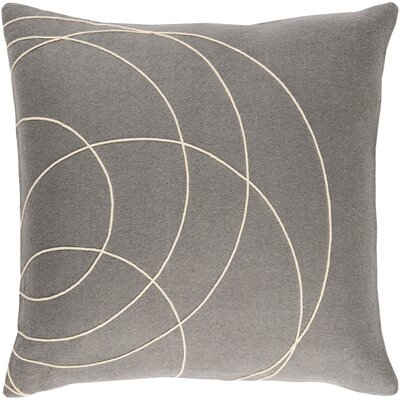 Bold Wool Throw Pillow Size: 18 H x 18 W x 4 D, Color: Medium Gray/Cream